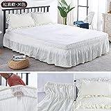 Falda de cama Faldas clásicas de lecho del ojal elástico, caída de 38 cm, ruffle de polvo tres lados de...
