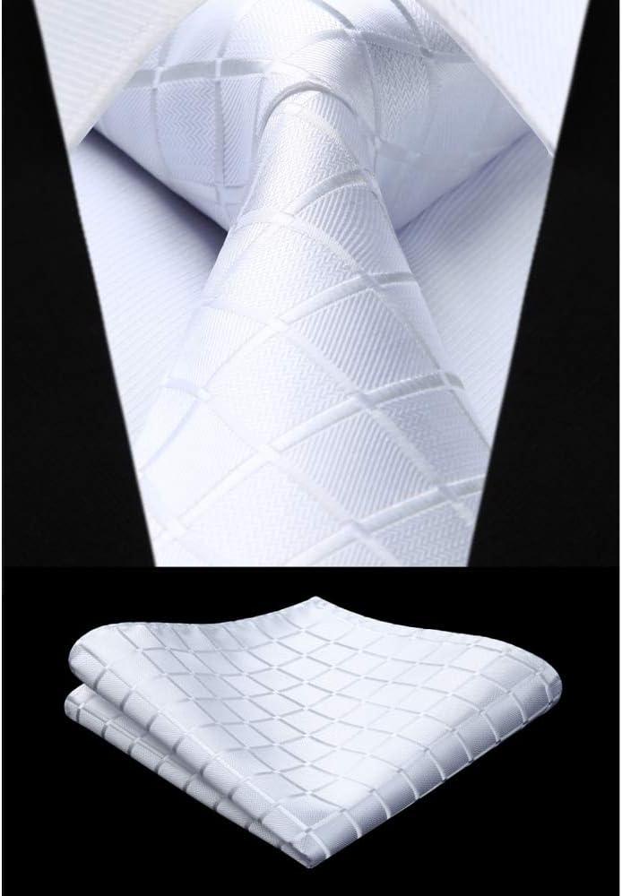 ZXCVBN Party Wedding Classic Pocket Square Tie Woven Men Tie Fashion Necktie Handkerchief Set