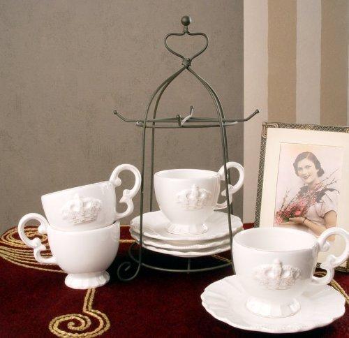PALAZZO INT Romantisches Tee Kaffee Set Porzellan Krone Shabby CHIC