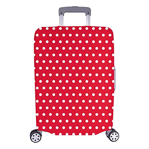 """InterestPrint Custom Polka Dot Red Luggage Cover Zipper Protector Suitcase Elastic 25""""x31.5""""(26-28 Inch Luggage) For Holiday Travel Business"""