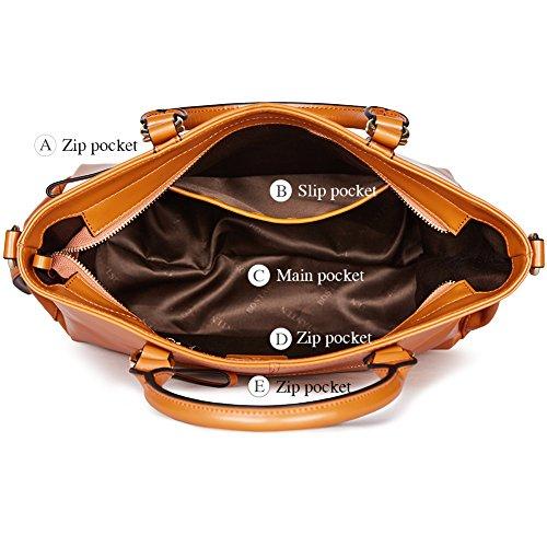 BOSTANTEN 3-Way Women's Leather Designer Handbags Tote Shoulder Cross-body Bag Brown