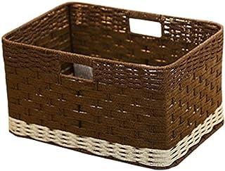 Boîte de Rangement Panier de Rangement Panier de rangement Sans couvercle Boîte de rangement tissée simple Boîte à cosméti...