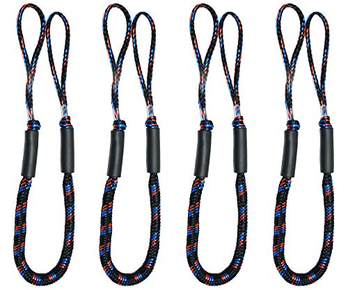 Bungee Boat Dock Lines 4 Feet Colourful Dockline Mooring Rope Boat Accessories Docking Lines PWC Shock Cords for Boats Kayak, Jet Ski, Pontoon, Canoe, Power Boat Wave Runner, SeaDoo, Watercraft 4pcs