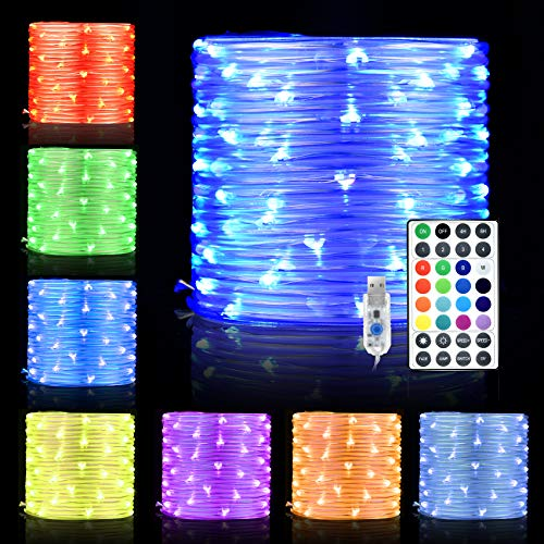 LED Rope Lights, 33ft 100 LED 16 Colors Changing Indoor Outdoor RGB String Lights, USB Powered Multi-Colored Twinkle Tube Fairy Lights with Remote for...