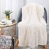 Couverture Sofa et Lit en Microfibre 160 x 200 cm duveteux chaude ultra-douce aspect toison...