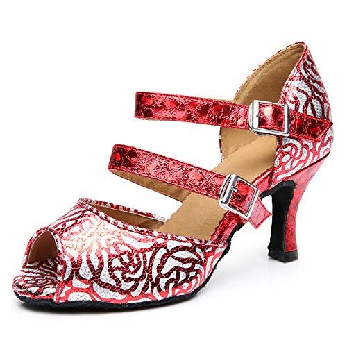 ZLYZS Zapatos Latinos para Mujer, Estampado De Rosas Rojas Cuero Elegantes Dedos...