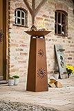 Deko-Säule Sonne + Feuerschale aus Metall in Rost-Optik, Feuerkorb, Feuerstelle, Garten-Deko