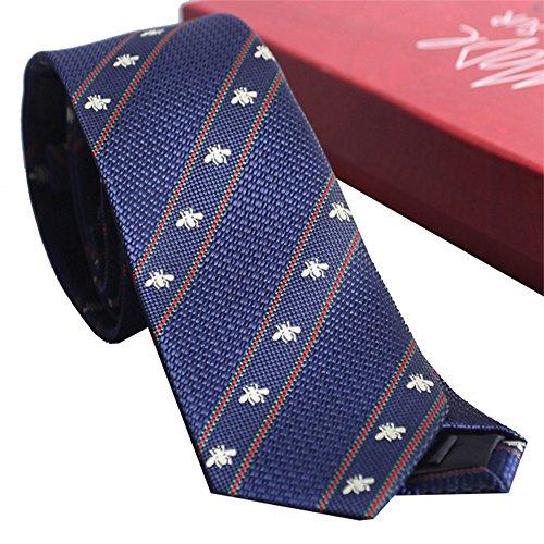 Tie Freizeit Herren Krawatte Italienische garngefärbte Jacquard Mode Streifenmuster mit Biene Krawatte Männer Geschenkbox