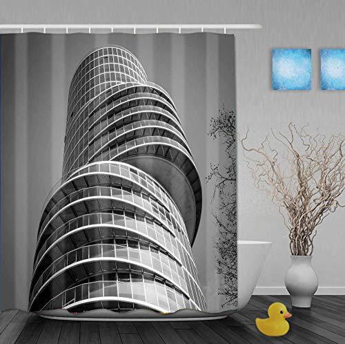 Mmxhn Duschvorhang Polyester 180X180Cmunorganisiertes Rundes Gebäudebad Vorhang Father's Day GIF-1