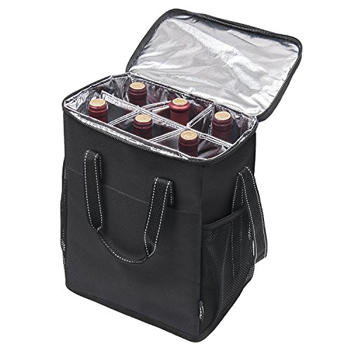 wine travel bag for luggages 6 Bottle Wine Carrier - Insulated & Padded Wine Carrying Cooler Tote Bag with Handle and Adjustable Shoulder Strap for Travel or Picnic, IDEAL Wine Lover Gift, Black