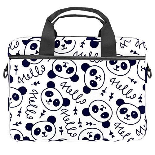 TIZORAX Laptoptasche Hello Panda-Muster Notebooktasche mit Griff 38,1-39,1 cm Tragetasche Schultertasche Aktentasche