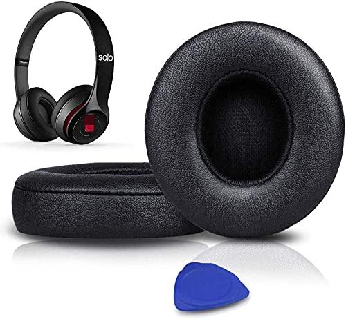 SoloWIT® Cuscinetti Auricolari Di Ricambio per Beats Solo 2 e Solo 3 Wireless On-Ear Cuffia con morbida pelle proteina/memory foam/nastro adesivo forte