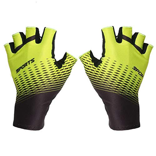 Cycling Gloves Mountain Half Finger Gloves Wear Resistant Fiber Leather Breathable and Sunscreen Suitable for Summer Outdoor,yellow
