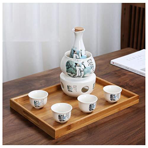 Fikujap Set de Sake Sirviendo, decoración de Estilo japonés, con 1 Taza de Sake 4 Tazas, Bandeja de bambú, para el hogar Hip Flask Warmer,E