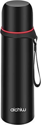 Thermos Cup Vacuum Insulated Compact Stainless Steel Built-in Cup Outdoor Travel Beverage Bottle Aichiw, 16oz Black