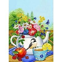 5Dダイヤモンド絵画花瓶フラワーアレンジメントクロスステッチモザイクDIY鳥の花ダイヤモンド刺繡ダイヤモンド家の装飾-30x40cm