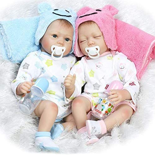 YIHANGG Simulation Baby Zwillinge Reborn Babypuppen Nette Realistische Handgemachte Silikon Baby Baby Weiche Puppe Magnetischen Mund 22 Zoll 55 cm, Twins