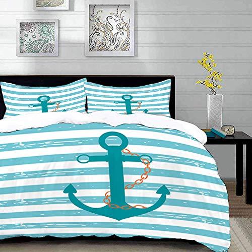 ropa de cama - Juego de funda nórdica, verde azulado, cadena de ancla de barco Marine Life inspirada en líneas de fondo Ocean Sailing, turquesa turquesa, juego de funda nórdica de microfibra con 2 fun