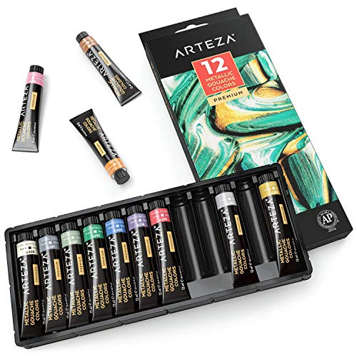 ARTEZA Metallic Gouache Paint, Set of 12 Colors/Tubes (12ml/0.4 US fl oz) Metallic Paints, Ideal for Canvas Painting, Watercolor Paper, Toned Paper, or Using with Watercolors and Mixed Media