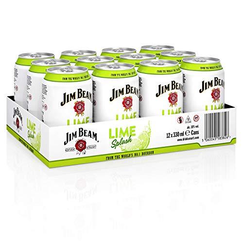 Jim Beam Lime Splash Bourbon Whiskey Dose, eine perfekte Mischung, 10% Vol, 12 x 0,33l Einweg