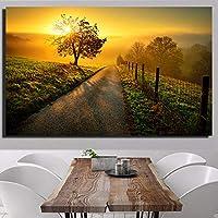 防水キャンバスに美しい夕日の風景画プリントリビングルーム用の大きなサイズの壁アート写真40x120cm(フレームなし)