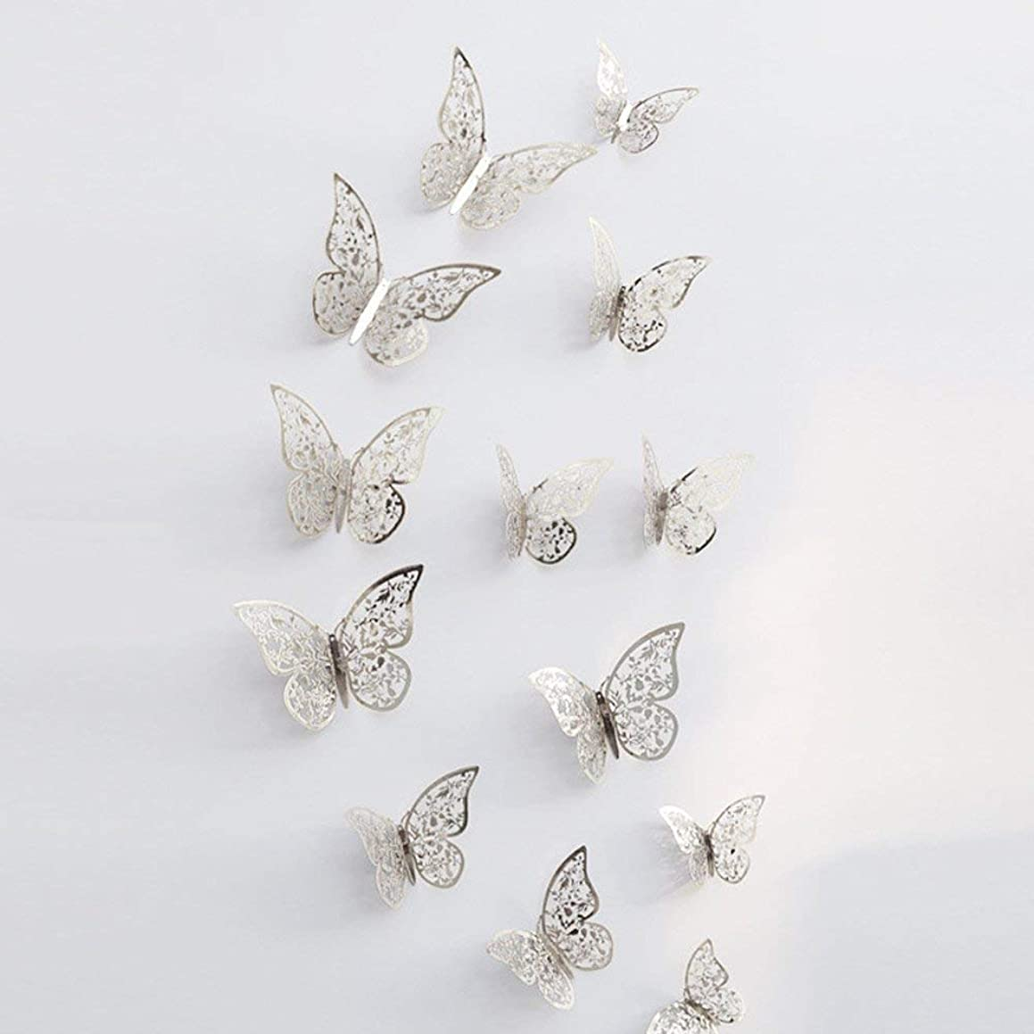Botrong Clearance?? 12 Pcs 3D Hollow Wall Stickers Butterfly Fridge for Home Decoration New (F)