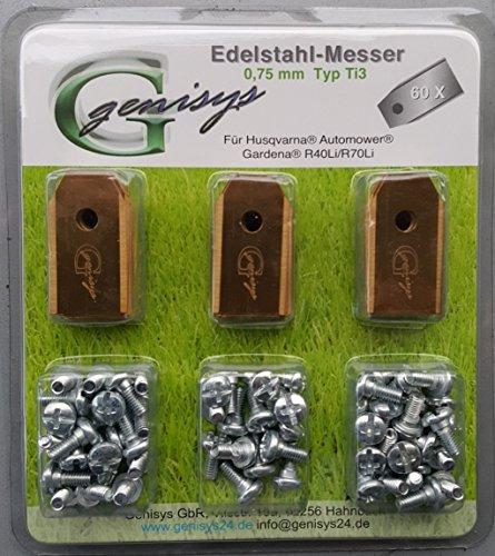 genisys Messer mit Titan-Beschichtung (Ti3=0,75mm) Schrauben für Husqvarna Automower®, Gardena R40Li / R70Li (60)