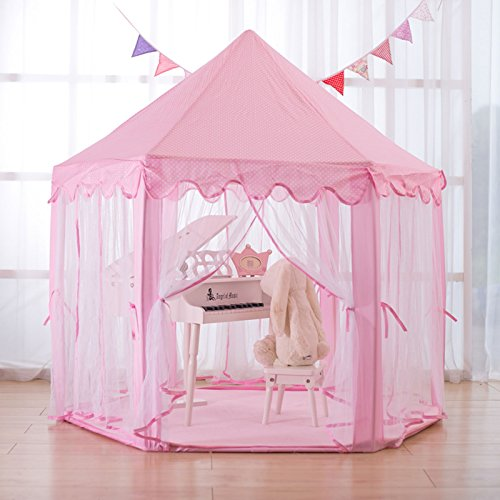 Shoze Play Tent Kids Gazebo Tent for Children Kids Gazebo Fairy Princess Boys Hexagon Play House for Indoor and Outdoor Great Gift for Girls(Pink)