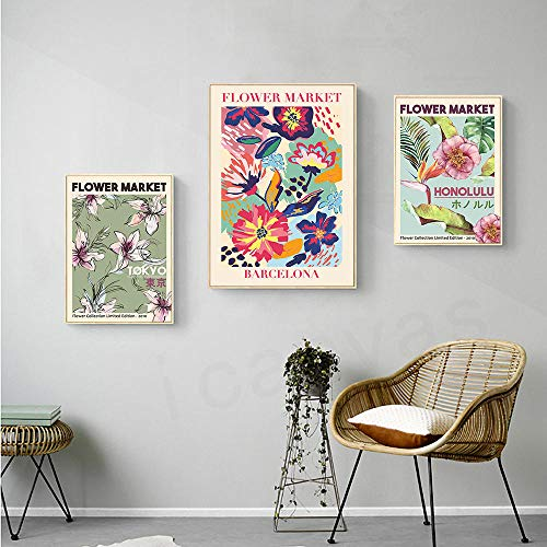 VVSUN Flower Market Wall Art Canvas Painting Barcelona Honolulu Tokyo Flroal Posters...