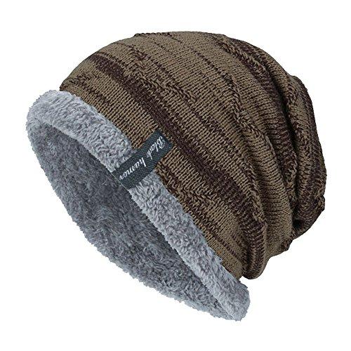 Azruma Warm gefütterte Beanie Wintermütze Flechtmuster unifarben oder meliert Einheitsgröße Mütze