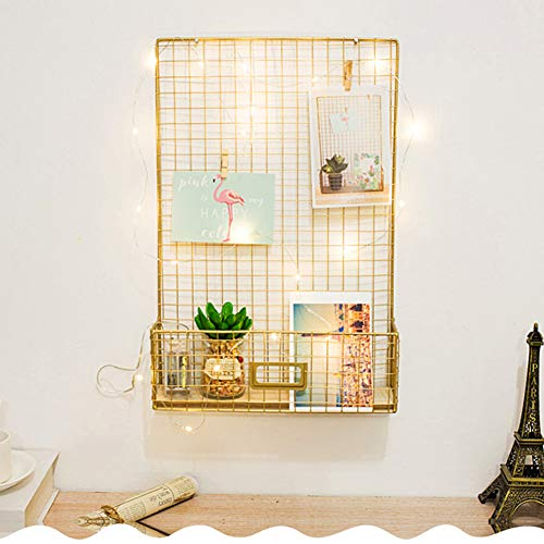 SADA72 Wandgitter-Panel zum Aufhängen von Fotos und Wanddekoration, multifunktionale Wandaufbewahrung, Display-Gitter, 5 Clips und 2 Postkarten