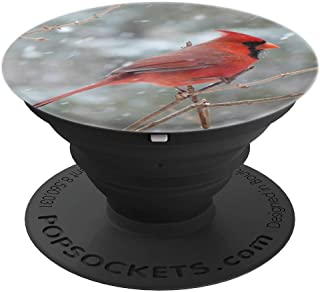 Red Cardinal Bird Gift - A Goodluck Cardinal in Winter - PopSockets Grip and Stand for Phones and Tablets