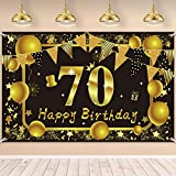Happy 70th Birthday Backdrop Banner LioNergy Extra Large Black Golden Shine Sign Poster for Personalized Anniversary Photo Booth Background Banner, Birthday Party Decoration, 70.8 x 44.8 Inch