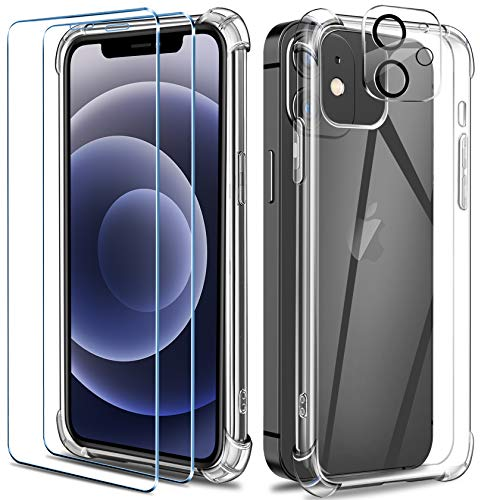 AROYI Handyhülle Kompatibel mit iPhone 12 Mini Hülle mit 2 Stück Panzerglas und 1 Stück Kamera Panzerglas, Soft Silikon Case - Transparent