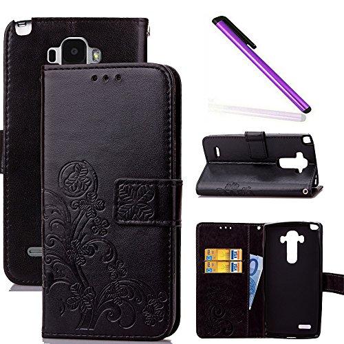 COTDINFOR LG G4 Stylus Hülle für Mädchen Elegant Retro Premium PU Lederhülle Handy Tasche im Bookstyle mit Magnet Standfunktion Schutz Etui für LG Stylo / LS770 Clover Black SD