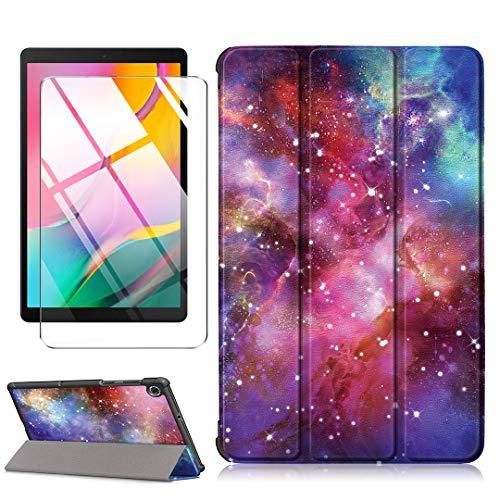 LJSM Custodia + Vetro Temperato per Lenovo Tab M10 FHD Plus TB-X606F   TB-X606X 10.3 inch - Pellicola Protettiva, Guscio Supporto Protettiva Tablet Cover in Pelle Flip PU Case - Milky Way