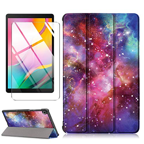 LJSM Case + Screen Protector for Lenovo Tab M10 FHD Plus TB-X606F / TB-X606X 10.3 inch - Tempered Film, Ultra Thin with Stand Function Slim PU Leather Smart Cover Skin - Milky Way