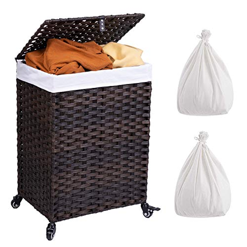 wicker hamper with liner and lid - 8