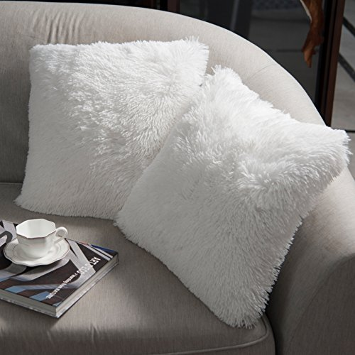 NordECO HOME Luxury Soft Faux Fur Fleece Cushion Cover Pillowcase Decorative Throw Pillows Covers, No Pillow Insert, 18 x 18 Inch, White, 2 Pack
