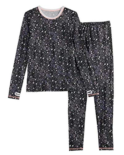 Girls Winter Base-Layer Thermal Underwear top and Bottom Set with Thumbhole, Star Moon M (7-8)