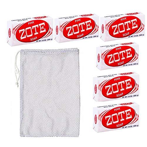 Zote Laundry Soap Bar - Stain Remover - 6 Pink Bars-7 Oz (200g) Each Includes FREE 18 in. x 24 in. Mesh Drawstring Laundry Bag -  Fabrica de Jabon La Corona