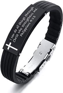 MEALGUET Silicone Bible Verse Bracelet Motivational Quotes Message Scripture Faith Christian Bracelet Religious Jewelry Gi...