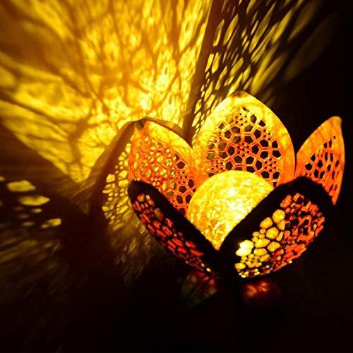 DINOWIN - Lampes solaires de jardin en forme de fleur - Étanches - Classiques - Rétro - En métal - Boule de verre craquelé - Décoration pour cour, patio, fête