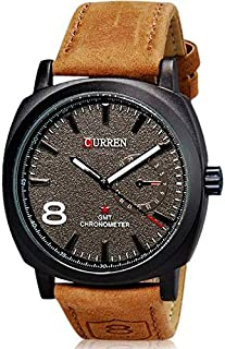 Pair of Curren Military for Men - Analog Leather Band Watch - 8139