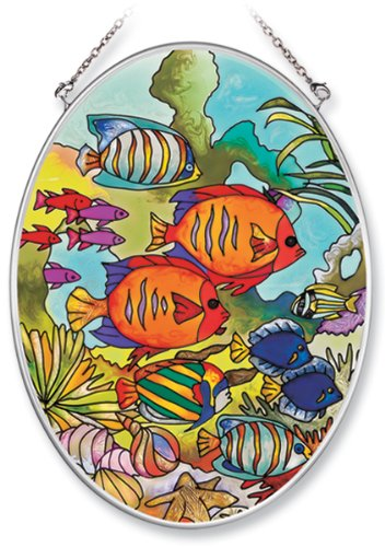 Amia Hand Painted Glass Suncatcher with Tropical Fish Design, 5-1/4-Inch by 7-Inch Oval