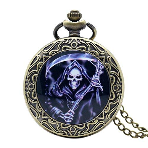 J-Love Cool Death Design Reloj de Bolsillo Dead Theme Bronce Fob Watch con Collar de Cadena para Regalo