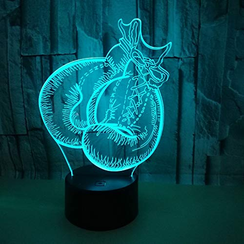 Nachtlampe, 3D Boxhandschuh kreative Lampe, bunte Touch Lead Vision, USB -Ladegerät