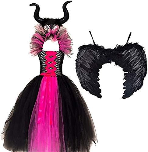 Denise Lamb Nio Nias Malfica Disfraz de Reina Cosplay Disfraz de Halloween Carnaval Festival de Navidad Fiesta Vestido de Lujo Disfraz de Bruja Malvada Alas (Color : Rose Red, Size : 10-12Y)