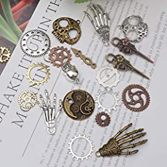 80PCS Assorted Antique Steampunk Gears Vintage Skeleton Charms Pendant Mixed for Necklace Bracelet Jewelry Making Accessory (Bronze and Silver Mixed Color) #2