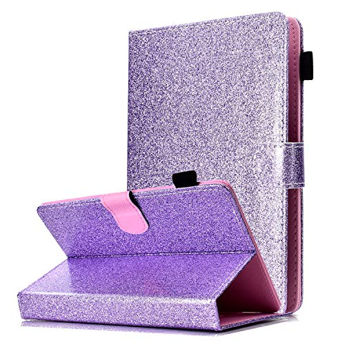 UGOcase Universal Case for 6.5'-7.5' Tablet, PU Leather Glitter Multi Angle Stand Slim Folio Pencil Holder Cards Slots Wallet Case Cover for Fire 7, RCA, Samsung, ASUS, Acer, iRulu, iView, Purple